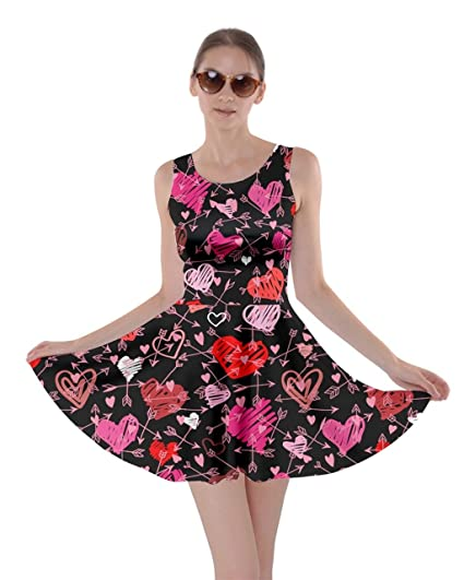 67238a0196 CowCow Womens Pink Cute Valentines Day Love Hearts Skater Dress