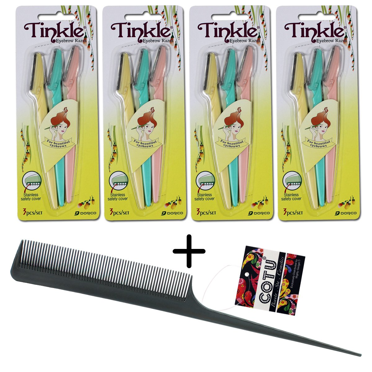 *Authentic Genuine* Tinkle Eyebrow Razor for Beautiful Eyebrows (12 pcs) + COTU (R) Hair Comb (1 pcs)
