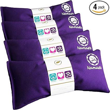 Tan Cotton Set of 4 Lavender Eye Pillow for Yoga Happy Wraps Namaste Yoga Eye Pillows