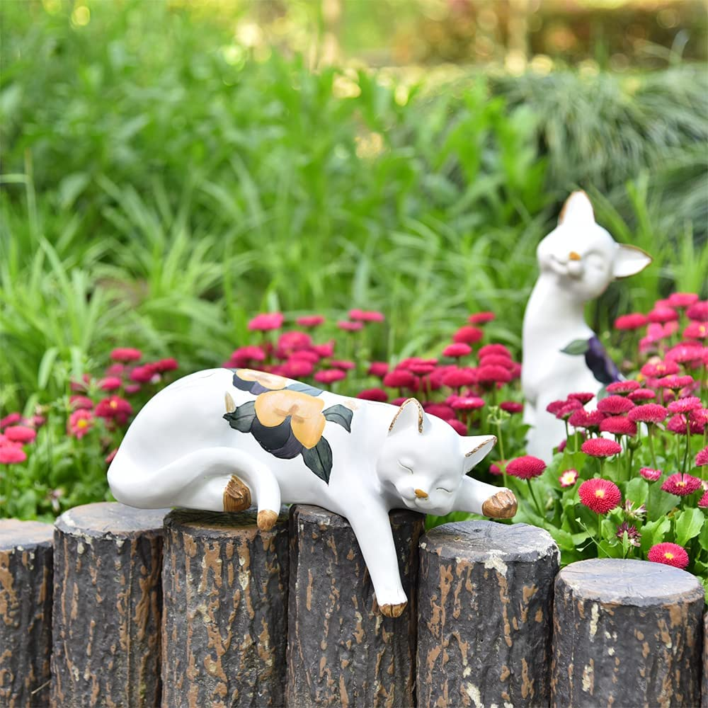 Sungmor Lovely Sleeping Cat Garden Statue - Decorative Indoor Outdoor Landscaping Cat Statue Ornaments - Home Garden Yard Plant Stands Book Shelf Wall Rack Table Stairway Decoration