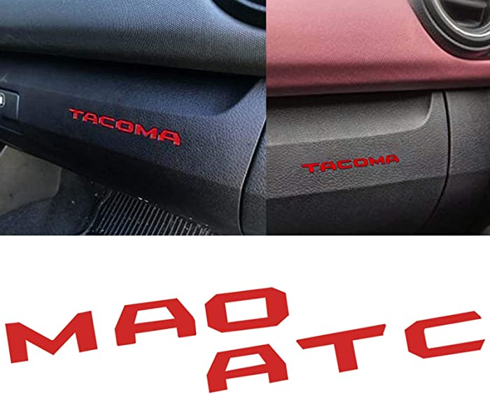 Xotic Tech Dashboard Glove Box Letter Inserts Decal Sticker for Toyota Tacoma 2016-2019, Glossy Red