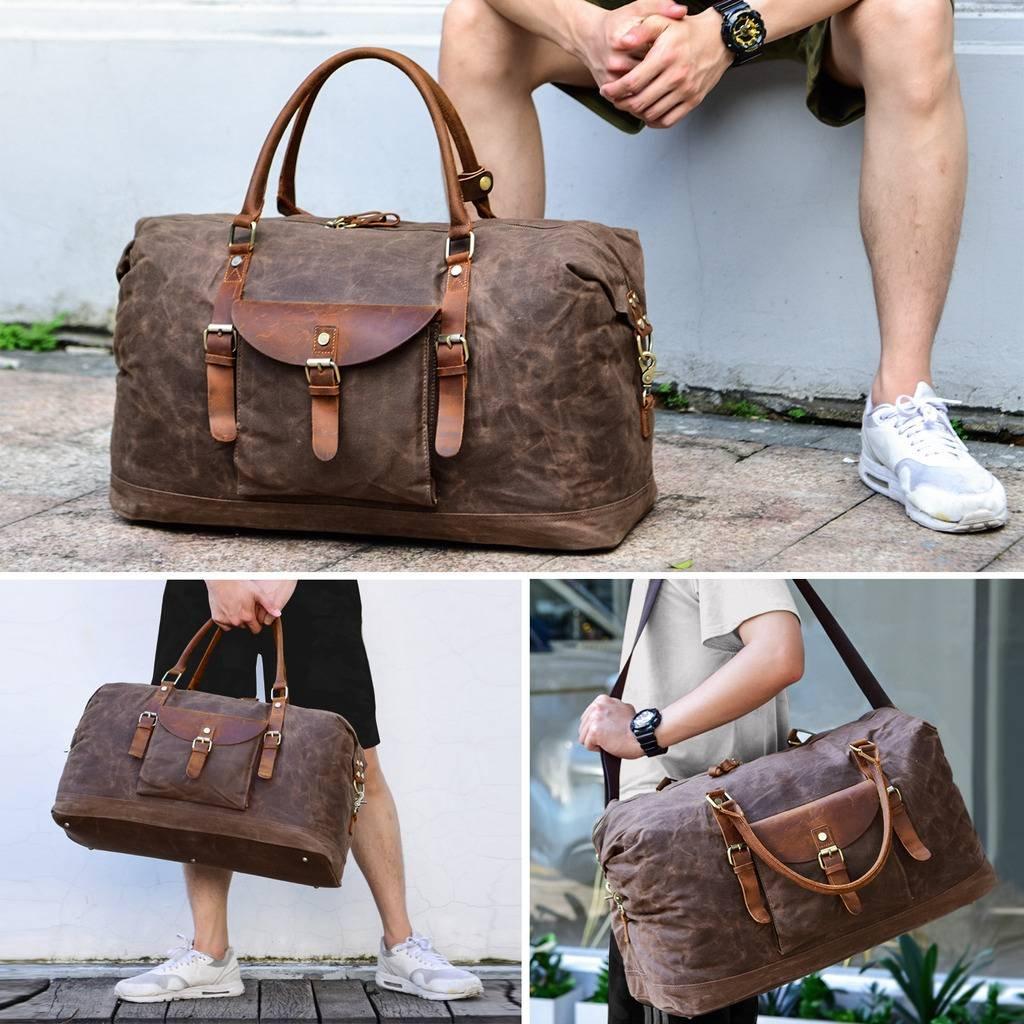 Plambag Oversized Duffel Bag, Waterproof Canvas Leather Trim Overnight Luggage Bag(Coffee) by Plambag (Image #8)