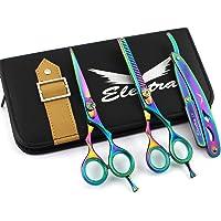 "Professional Hairdressing Scissors Hair Cutting Kit For Barber Thinning Shears Set With Case Multi Razor 5.5"" Finger Rest"