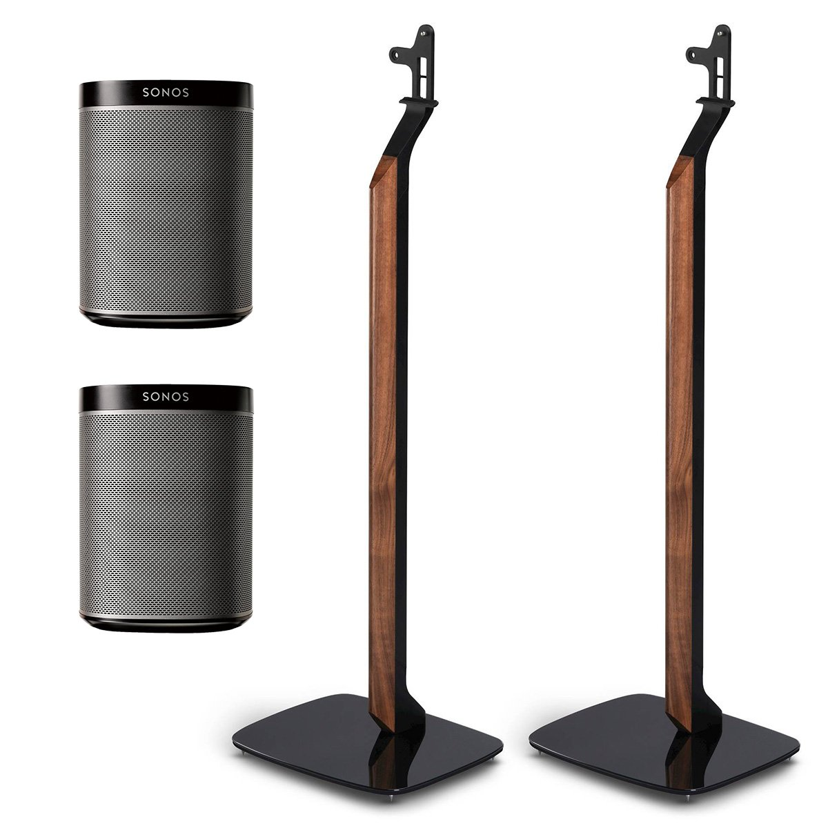 Sonos PLAY:1 All-In-One Wireless Speakers with Flexson Premium Floor Stands - Pair (Black)