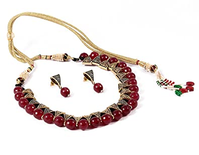 495fdb7e54f Buy QURVED Maroon Colour Beads Fashionable Necklace Set with Tops Earrings  for Indian Beuties Women Girls Online at Low Prices in India