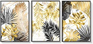 ANIUHL Tropical Plant Wall Art Canvas Print Poster Gold Gorgeous Monstera Leaf Feather with Marble Background Artwork Decor for Living Room Bedroom Nursery Office(Set of 3 Unframed, 12x16 inches)