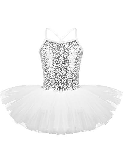 YiZYiF Vestido Bailarina Lentejuelas Niñas Maillot Ballet Vestido Tutú Danza Princesa Leotardo Body Traje Actuación Fiesta Cumpleaños 4-8 años