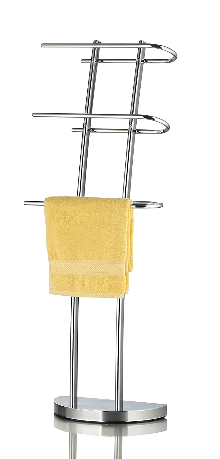 Ribelli® Mallaea Free Standing Towel-Stand with 3 U-shaped Arms, Bathroom Bath Towel-Rail, Chromed 3 tier Towel-Rack, 3 Bar Towel-Holder, Silver
