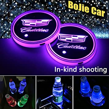 LED Interior Atmosphere Lamp for All car Logo 2pcs LED Car Logo Cup Holder Lights,7 Colors Changing USB Charging Mat Luminescent Cup Pad M-a-z-d-a-
