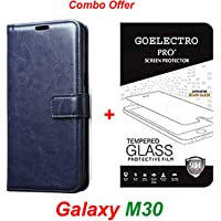 Goelectro Samsung Galaxy M30 / Galaxy M30 (Combo Offer) Leather Dairy Flip Case Stand with Magnetic Closure & Card Holder Cover + Tempered Glass Full Screen Protection (Clear) (Blue)