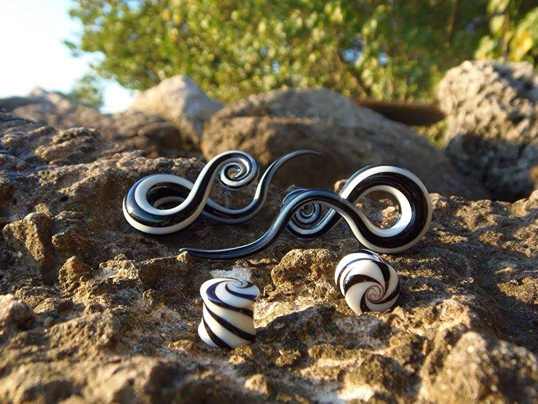 BodyJ4You 4PC Glass Ear Tapers Plugs 4G-14mm Black White Stripe Teardrop Spiral Gauges Piercing Set TP7056-0G