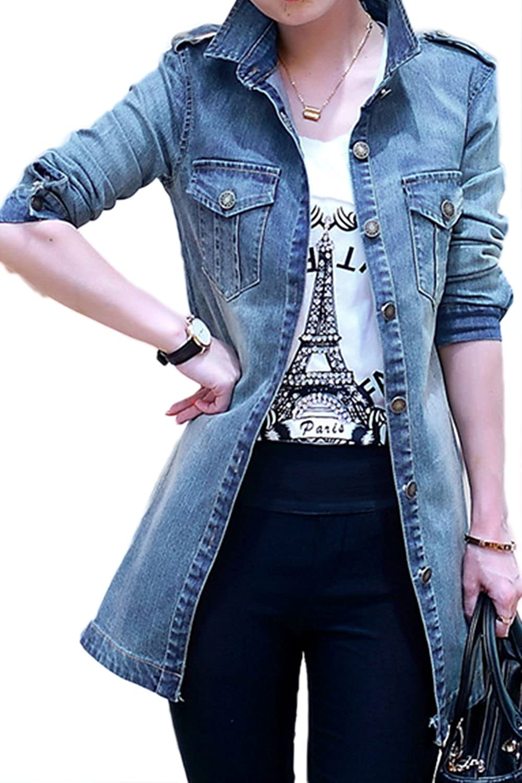 Cheap YACUN Women's Open Front Long Denim Jeans Jacket Coat for sale