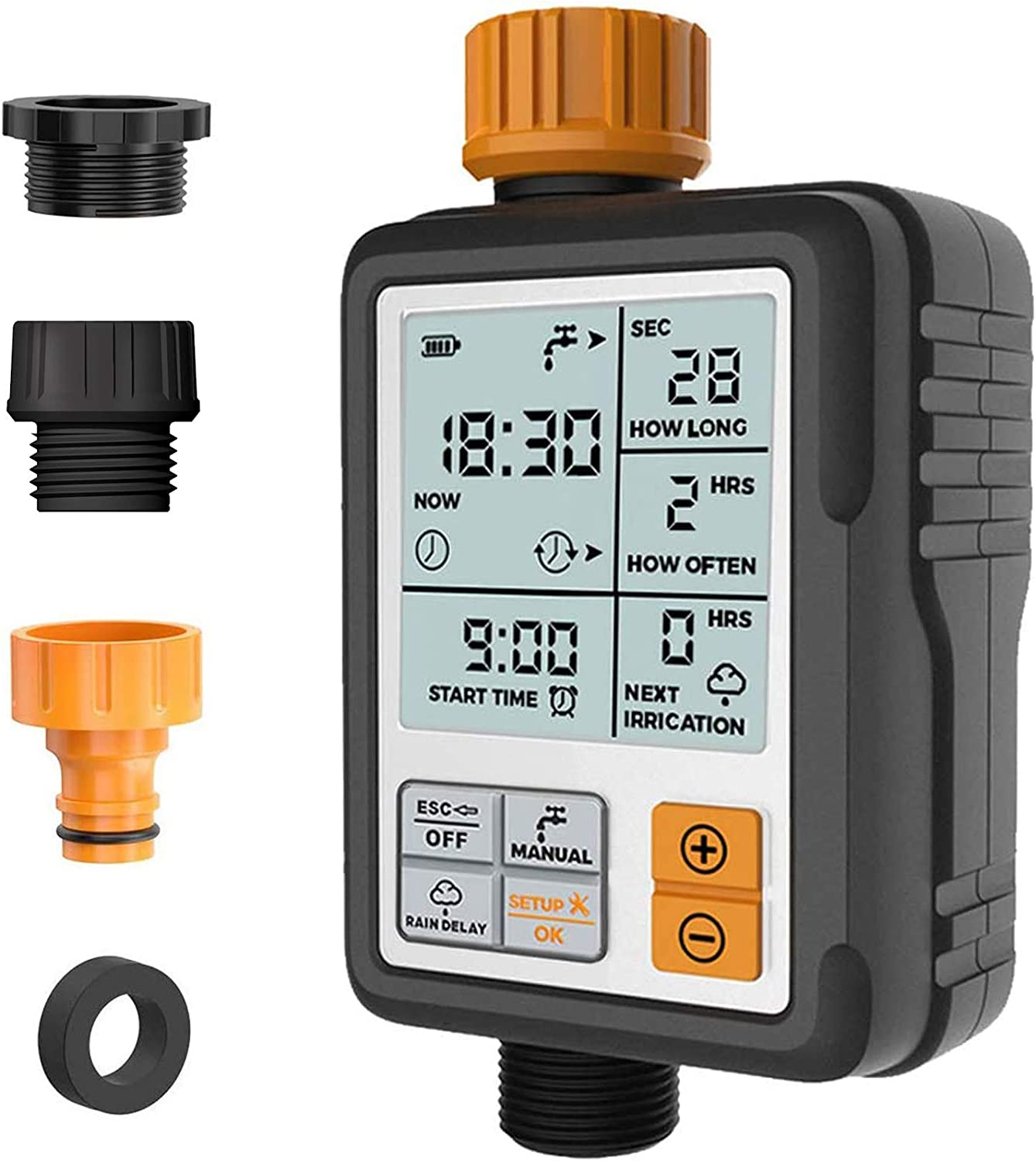 "Kazeila Digital Irrigation Timer - Programmable Water Timer Garden Lawn Hose Faucet Sprinkler Water Timer - 3"" Large Screen/IP65 Waterproof/Rain Delay/Child Lock Mode/Auto&Manual Mode"