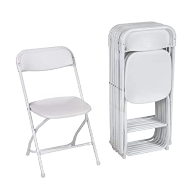 ZOWN Premium Commercial Banquet Folding Chair, White, 8 Pack: Kitchen & Dining