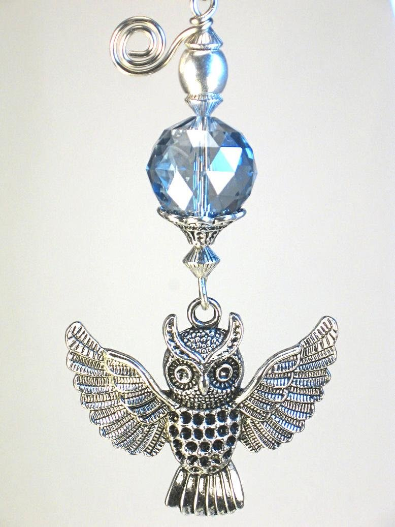 Harry Potter Large Open Wing Owl & Faceted Twilight Blue Glass Ceiling Fan Pull Chain