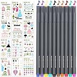 Stencil Bullet Journal 12 Pezzi e Penne Colorate 10 Pezzi,Album Disegno Plastica Planner per Fai Da Te Creativo Scrapbooking o Diario