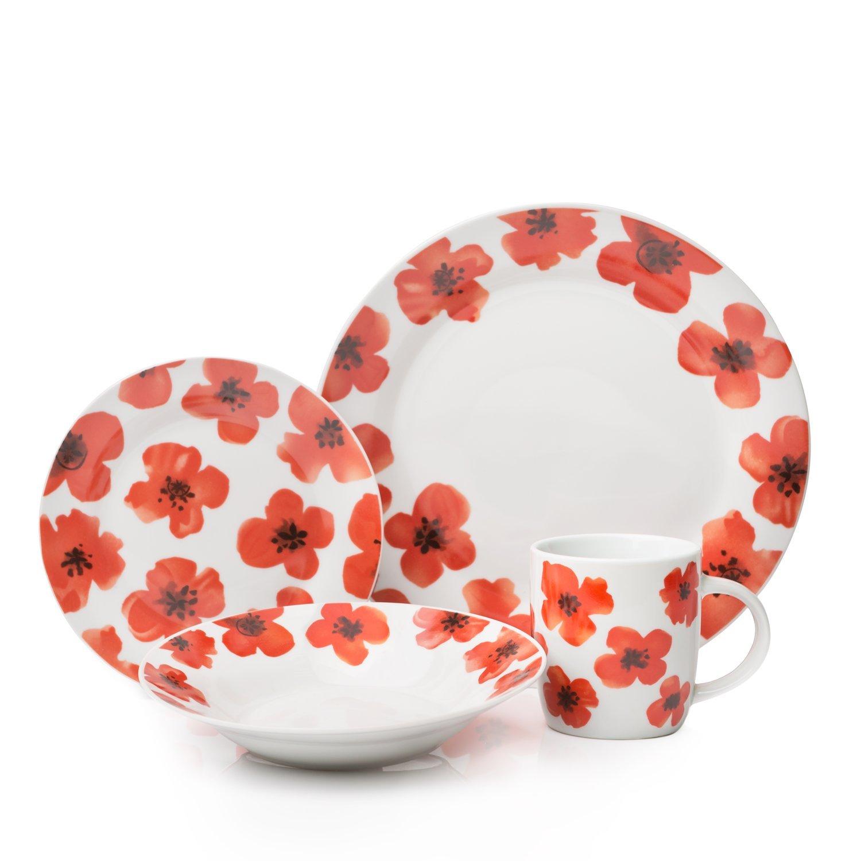 Sabichi 16pc Spring Poppy Porcelain Dinner Set