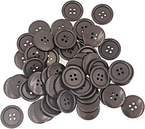 Sewing Flatback Resin Buttons for DIY Craft Brown Pack of 50 Pcs Leekayer 25mm 1Inch