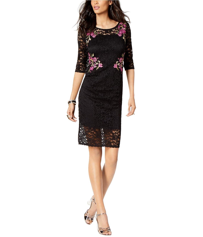 Deep Black Thalia Sodi Lace Sheath Dress