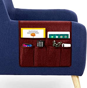 """Guken Sofa Armrest Pocket Organizer, Couch Arm Chair Caddy with 6 Pockets for Magazine, Books, TV Remote Control, iPad (Burgundy,19""""X35"""")"""