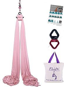 F.Life Aerial Silks 9 Yards Equipment- Medium Stretch Yoga Silk Hammock Hardware kit for Home Acrobatic Dance,Air Yoga, Aerial Yoga Hammock