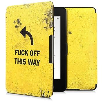 kwmobile Funda para Amazon Kindle Paperwhite - Carcasa para e-Reader de [Cuero sintético] - Case con diseño Fuck Off This Way (para Modelos hasta el ...