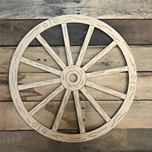 EricauBird Wagon Wheel Wood Craft,Unfinished Wooden Cutout Art,Inspirational Farmhouse Wall Plaque,Rustic Home Decor for Living Room,Nursery,Bedroom,Porch,Gallery Wall