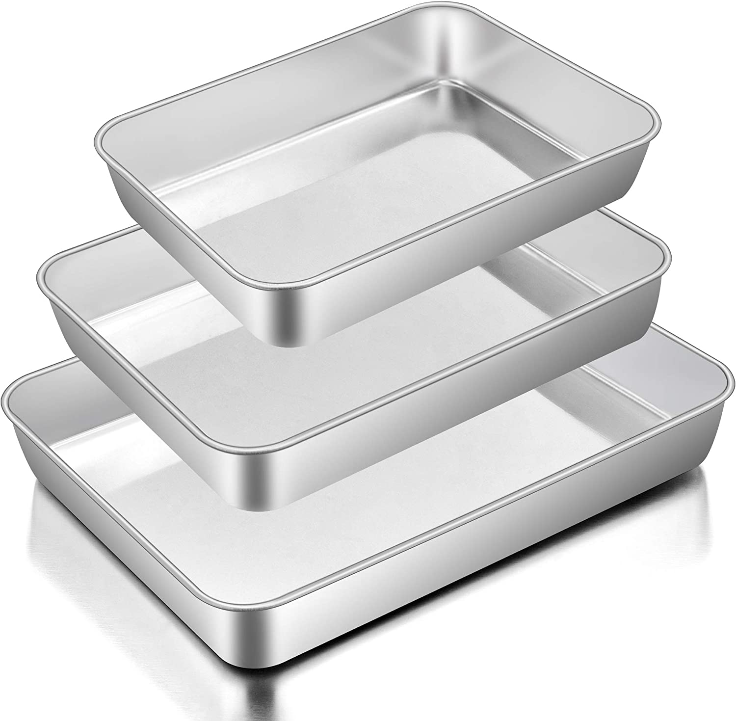 Baking Pans Set of 3, E-far Stainless Steel Sheet Cake Pan for Oven - 12.5/10.5/9.4Inch, Rectangle Bakeware Set for Cake Lasagna Brownie Casserole Cookie, Non-toxic & Healthy, Dishwasher Safe