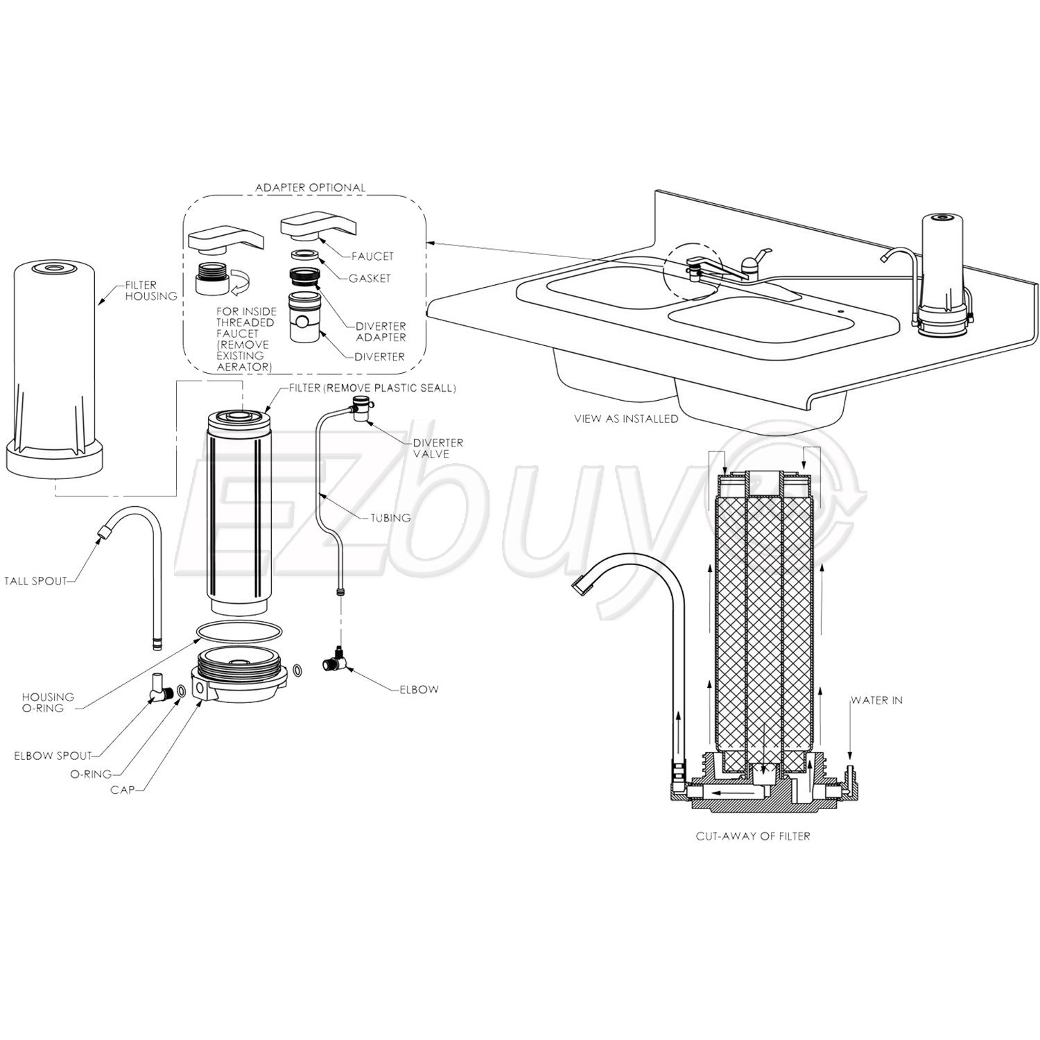 One Stage Stainless Steel Countertop Water Filtration Filter Cap Schematic Unit Carbon Block Kitchen Dining