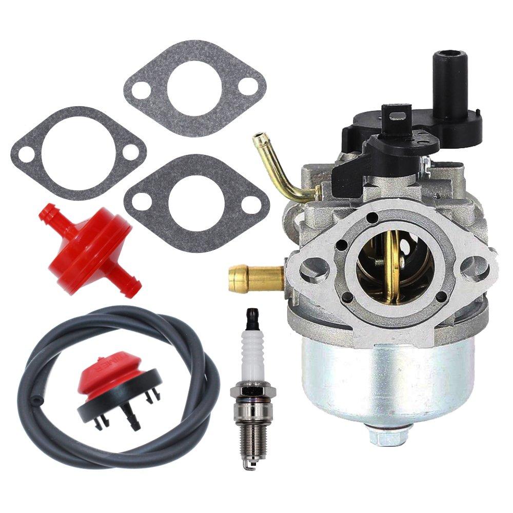 Amazon.com: 801396 Carburetor with Primer Bulb Fuel Filter Gaskets Spark  Plug for Briggs & Stratton 801233 801255 Snow Blower Thrower Toro R-TEK  2-Cycle ...