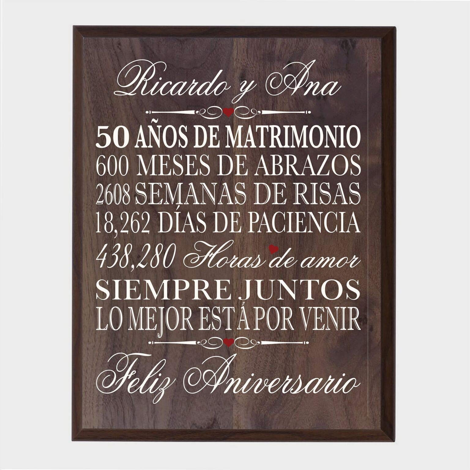 LifeSong Milestones Personalized Spanish 50th Wedding Anniversary Wall Plaque Gift for her, him, Husband, Wife, Couples 12'' x 15'' (Walnut)