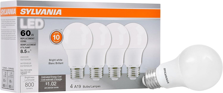 SYLVANIA Value LED Light Bulb, A19, 60W Equivalent, Bright White 3500K, 4 Pack