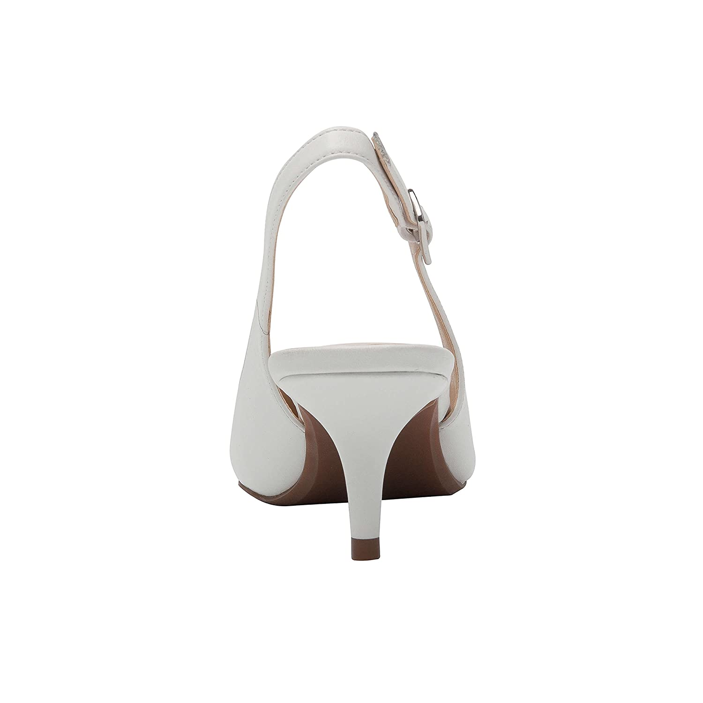 Hazel | Women's Low Heel Slingback Perforated Cap Toe Comfortable Slingback Heel Pump B07B6BKCQ2 7.5 B(M) US|White Leather 65135e