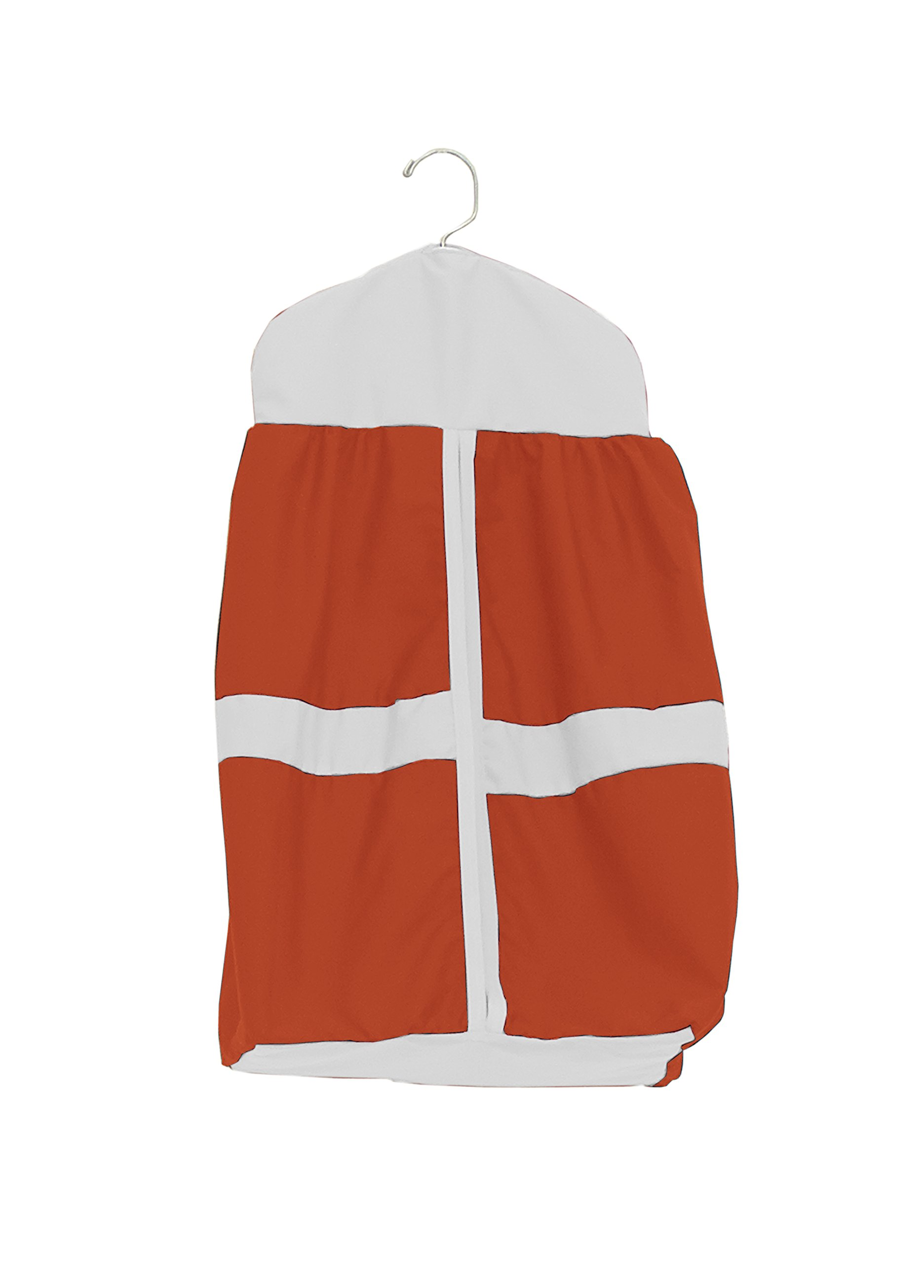 Baby Doll Bedding Solid Stripe Diaper Stacker, Orange/White by BabyDoll Bedding (Image #1)