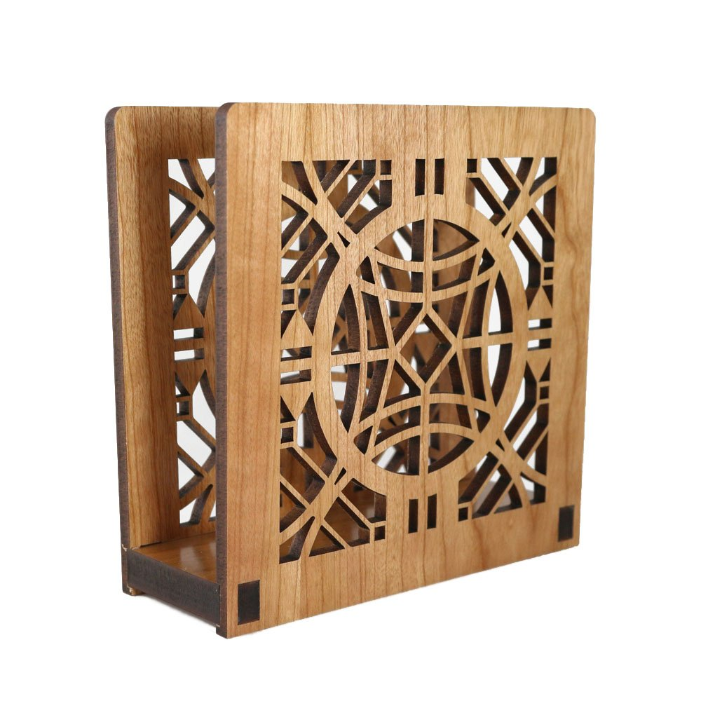Frank Lloyd Wright CHAUNCEY WILLIAMS Design Laser Cut Wood Napkin Holder Lightwave Laser FLW-NH-03