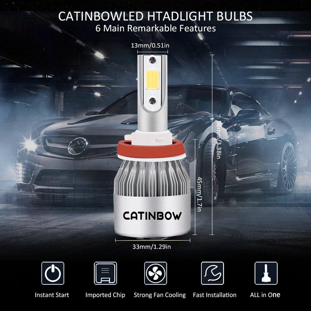 Catinbow 2pcs H11/H8/H9 LED Bombillas Interior Coche, 72W 7200LM LED Faros Delanteros IP68 Impermeable 6000K Blanco Frio del Lámpara LED Kit para Coche y ...