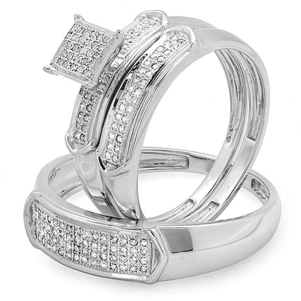0.33 Carat (ctw) Sterling Silver Diamond Men & Womens Micro Pave Engagement Ring Trio BridalSet 1/3 CT