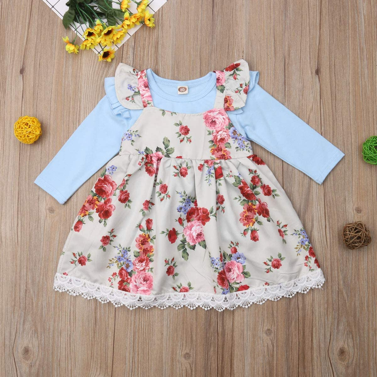 Toddler Baby Girl Kids Fall Plain T Shirts Floral Overall Dress Set 2 Pcs Outfit