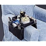 MareLight TV Remote Control Organizer Holder, Drapes Over Sofa Arm Best Quality Armrest Organizer-5 Pocket Organizer w/ Arm Rest Tray, Use for Remote Controls, Game Controller, Pens, Magazines