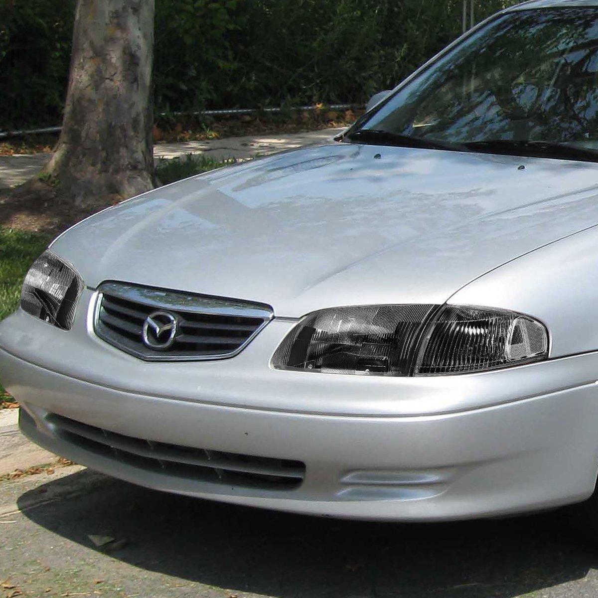 For 98-99 Mazda 626 DNA Motoring HL-OH-063-BK-CL1 Black Housing Headlights+Corner Lights