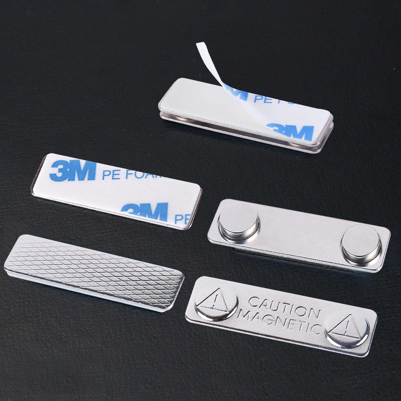 fermeture avec adh/ésif 3/m sur plaque avant force Aimants en n/éodyme magn/étique solide porte-badges avec plaque arri/ère en acier Lot de 24/balises Nom//ID badge Aimants