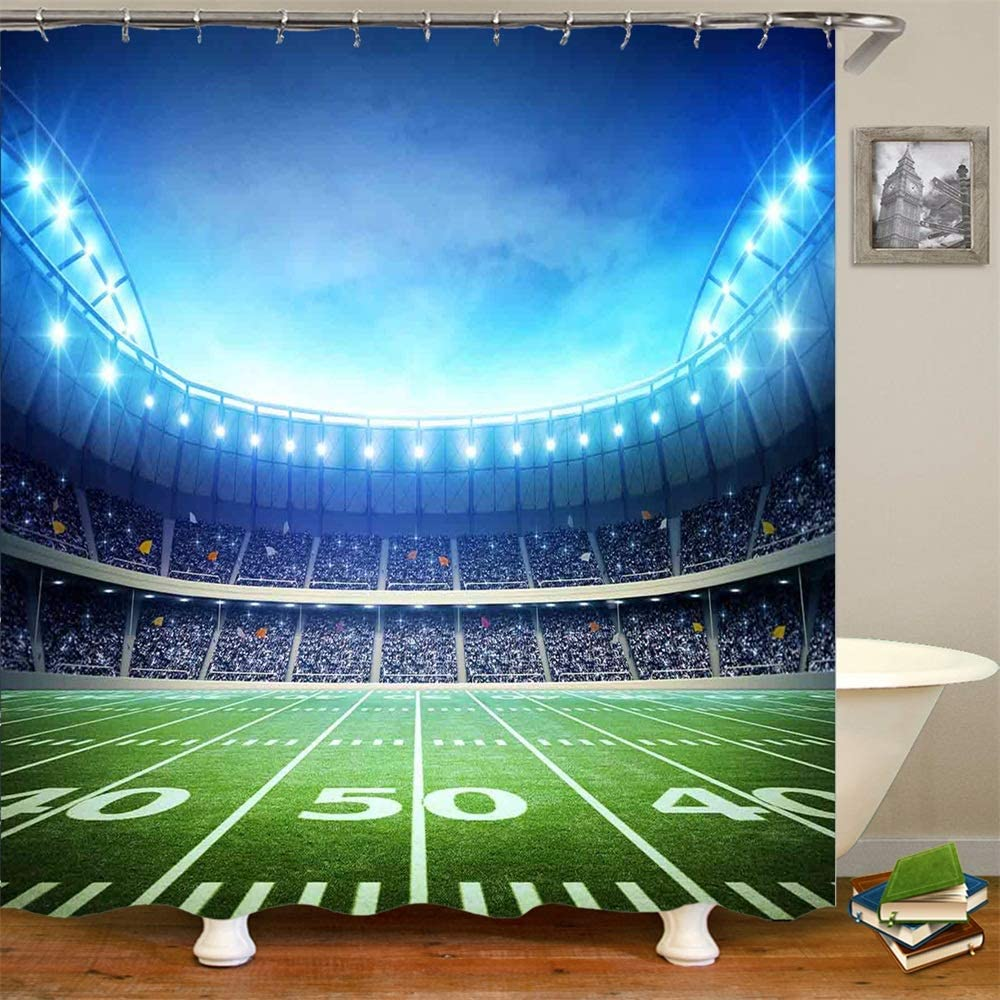 Amazon Com Shower Curtain Set With Hooks Rugby 50 Yards Line Football Stadium Arena Field Playground Sports Decor Fans Bathroom Decor Waterproof Polyester Fabric Bathroom Accessories Bath Curtain 72 X 72 Inches Home