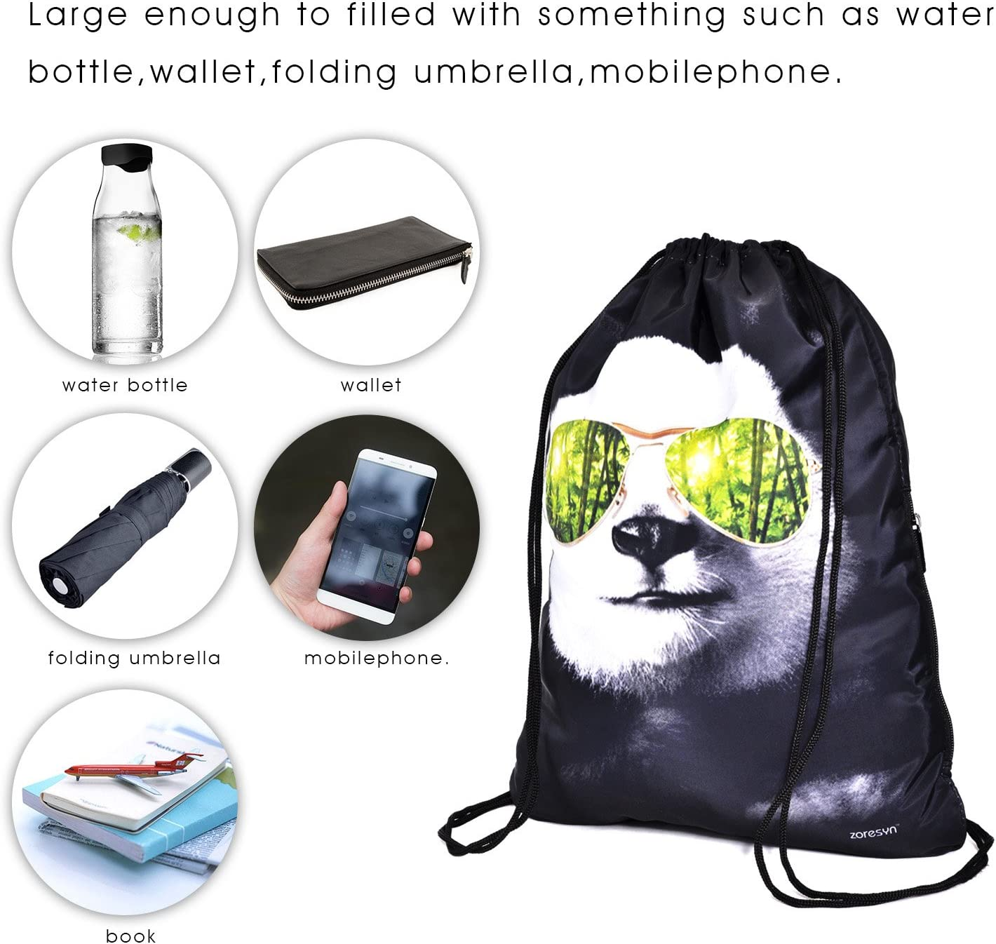 Draw Cord Bag Drawstring Backpack Sackpack Knapsack for Hiking Swimming Yoga Gym Outdoor Exercise Running Travel