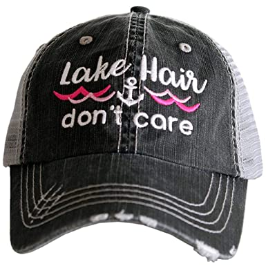 d298a401dd791 Katydid Lake Hair Don t Care Wave And Anchor Trucker Hat-grey hotpink at  Amazon Women s Clothing store