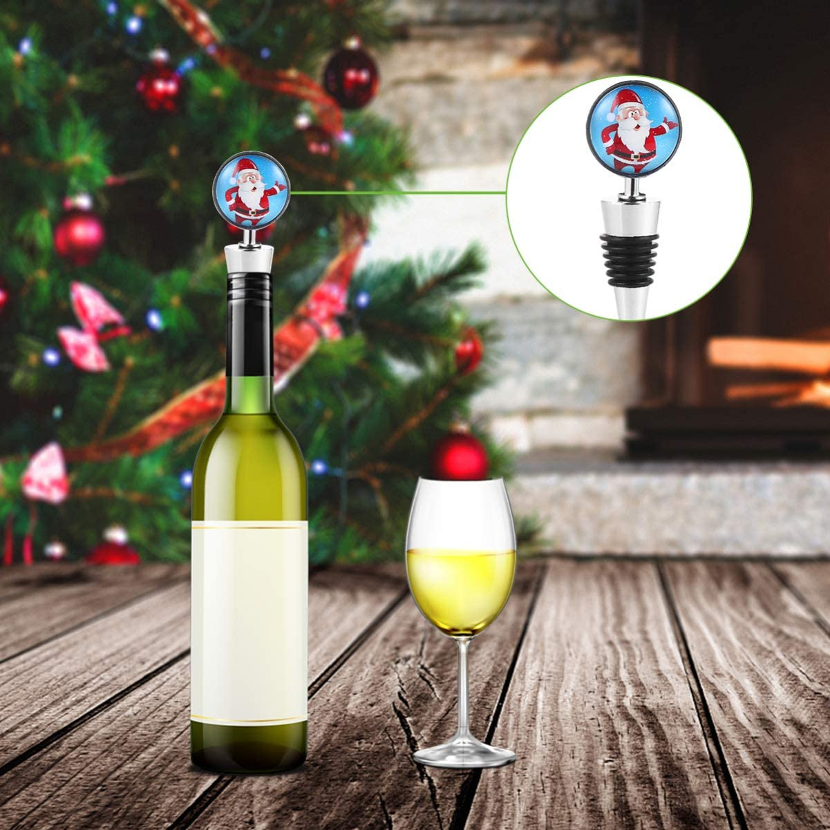 NUOBESTY Christmas Wine Bottle Stopper Santa Claus Wine Bottle Plug Beverage Bottle Stopper Wine Accessories for Holiday Winter Wedding Bridal Favor