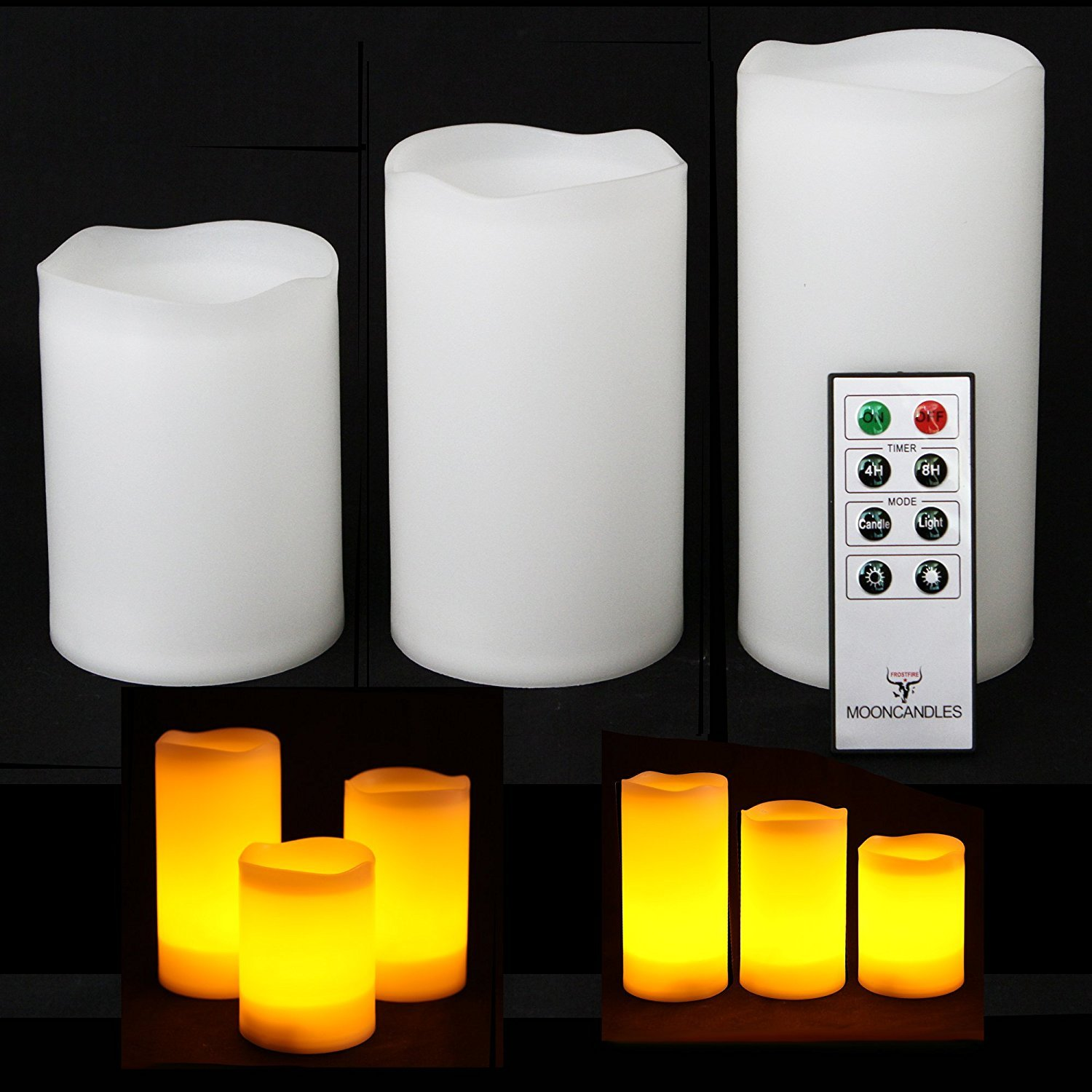 Frostfire Mooncandles - 3 Weatherproof Outdoor and Indoor Candles with Remote Control & Timer Mooncandles - 6018