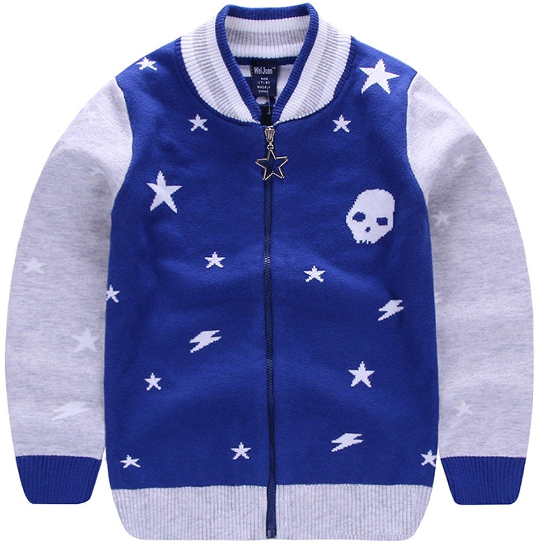 AUIE SAOSA Boys Fashion Cotton No Pilling Mock Pocket Star Pattern Knitted Zipper Cardigan Sweater