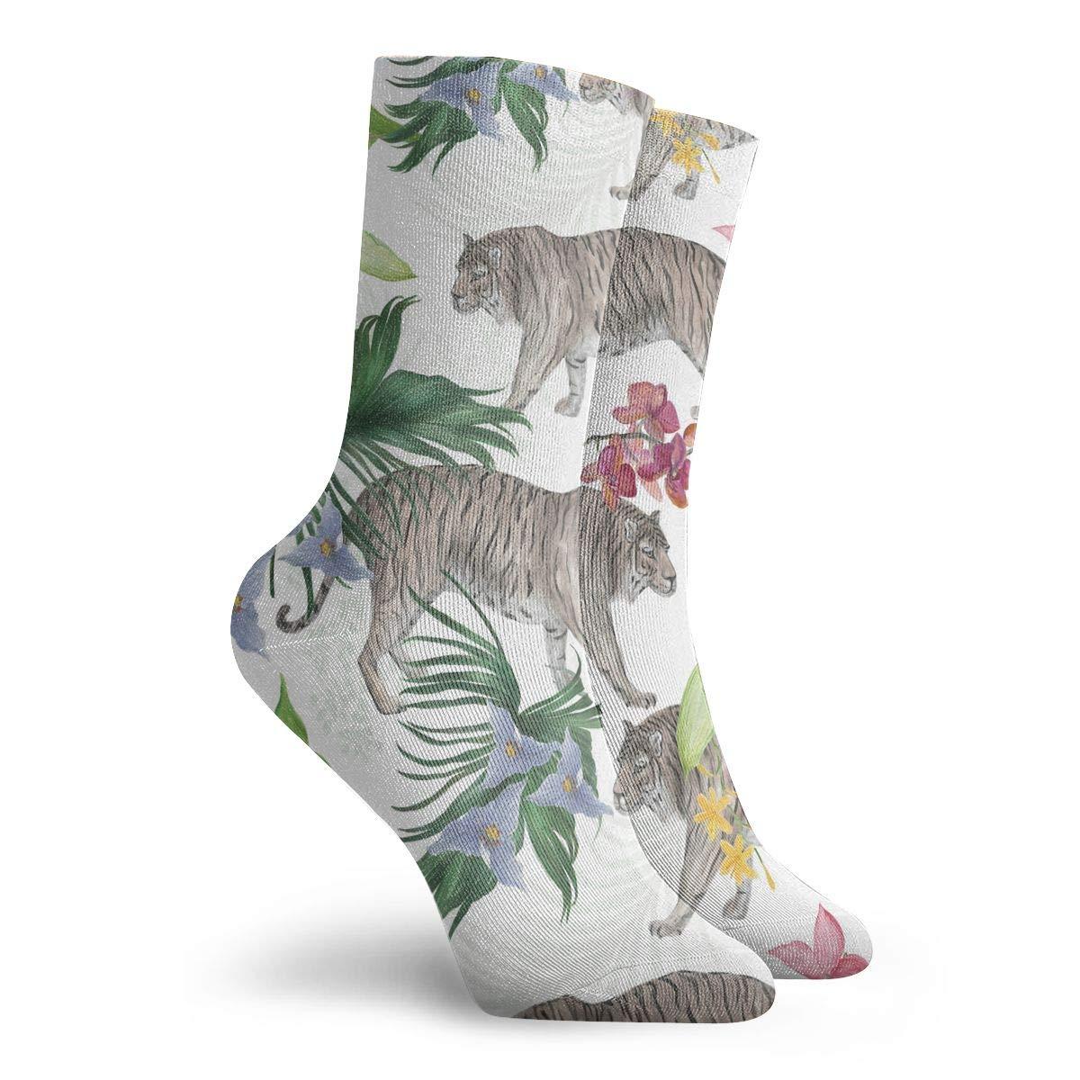 Adult Palm Leaves,tiger Pattern Athletic Crew Socks