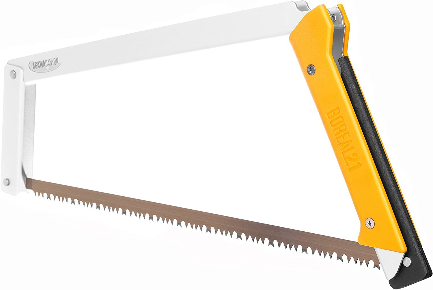 Agawa Canyon – BOREAL21 Folding Bow Saw – Clear Frame, Yellow Handle, All-Purpose Blade