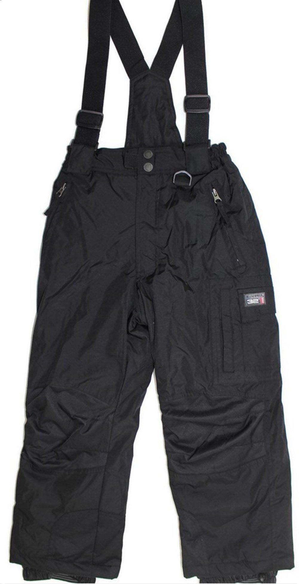 Weatherproof 32 Degrees Boy's Charcoal Zip-off Suspender Snow Pants (Small) by Weatherproof